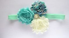MInt Floral Headband Baby Headband Mint by PoppiesnLaceBowtique