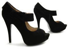 High heel black suede platform peep toe prom shoes 2013 from Ollio, featuring cute ribbon detail around the ankle and a zipper. ($24.99)