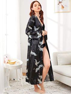 5b748f9278 Shein Crane Print Satin Longline Robe  Print Crane Shein. Beeusily · Womens  Robes