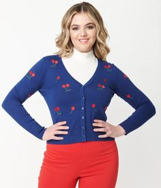 Blue & Embroidered Cherry Cardigan