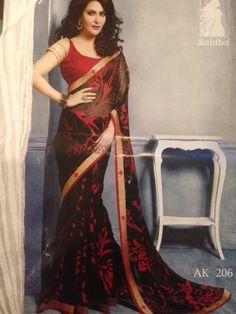 Drape yourself with this lovely black saree http://www.thefirstbazaar.com/product/tfb-sahiba-black-brasso-georgette-saree-ak206/ … #fashion #women #india #saree #thefirstbazaar