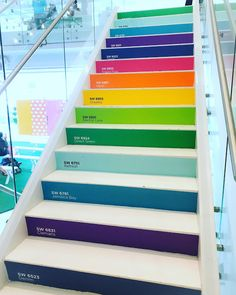 Rainbow Stairs - Staircase - Painted - Bright Colors - Sherwin Williams - Basement Stairs - Playroom Stairs - Kids Room - Attic Stairs - Rec Room - Game Room - Colorful Stair Risers - The names of the Sherwin Williams paint colors used are on each stair Stairs And Staircase, House Stairs, Basement Stairs, Attic Stairs, Stair Risers, Spiral Staircases, Staircase Design, Eco Construction, Stairs Colours