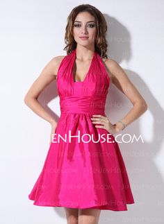 Bridesmaid Dresses - $105.99 - A-Line/Princess Halter Short/Mini Taffeta Bridesmaid Dress With Ruffle (007022535) http://jenjenhouse.com/A-Line-Princess-Halter-Short-Mini-Taffeta-Bridesmaid-Dress-With-Ruffle-007022535-g22535