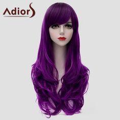 Adiors Long Side Bang Purple Fluffy Wavy Synthetic Universal Wig #women, #men, #hats, #watches, #belts, #fashion, #style