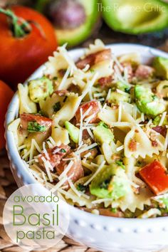 This was probably one of the best pasta salads that I have made. Fresh avocado combined with fresh tomatoes and basil made this an amazing pasta salad. (Use Dreamfields pasta. Think Food, I Love Food, Food For Thought, Good Food, Yummy Food, Tasty, Pasta Recipes, Salad Recipes, Cooking Recipes