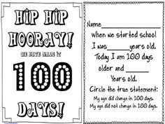 Here's a mini-booklet for students to make on the 100th day.