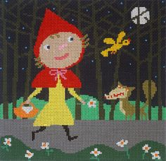 "We love this Little Red Riding Hood Canvas by Nancy Davis. It has a slightly dark sense of foreboding, but also a touch of whimsy that seems to be missing from most artwork covering this favorite fairy tale.   Artist: Nancy Davis Dimensions: 9"" x 9"" Mesh Size: 13"
