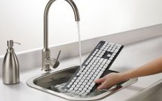 Logitech invents a keyboard that will withstand when we accidentally drop it in the tub while reading on our laptop. #Sweet #SpaLife