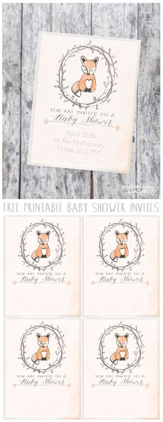 I am so in love with this series- who doesn't love babies AND cute animals?! And what baby shower would be complete without invitations? Today's freebie printable is some cute watercolor invites. I le