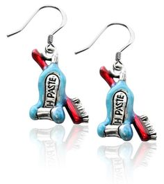 Tooth Paste with Brush Charm Earrings in Silver