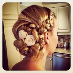 Pretty bridal hairstyle, Bridal up do, blonde hair, shoulder length hair, off to the side, wedding hairstyles