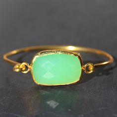 Old San Juan Bracelet - 24k Gold Dipped Green Chalcedony Cuff – MeiElizabeth