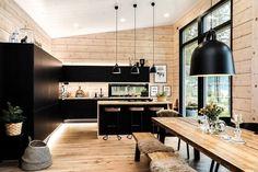 Modern Cabin Interior, Interior Design, Modern Cabins, Modern Houses, Design Interiors, Cabin Homes, Log Homes, Casa Loft, Cabin Kitchens