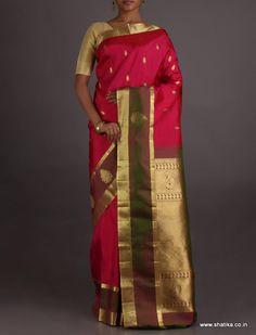 Sadhana Ravishing Contrast Brocade Border Pallu Wedding #SalemSilkSaree