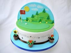 Two cakes in one! This backdrop cake is half on golfing as seen in this pin and the other half is dental theme ... Cake done for a retiring dentist ... The dental cake side will be pinned shortly and I already pinned the dental cupcakes that were made to go with this best backdrop cake.
