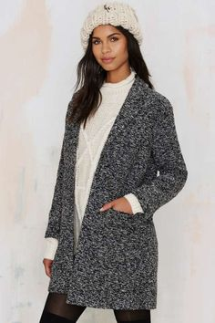 Gray Space Marled Coat - Coats
