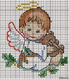 1000 Artes: Almofada Santo Anjo - ponto cruz