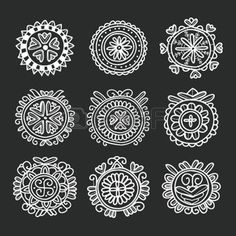 hungarian folk: Circle shape floral folk ornament,  vector illustration