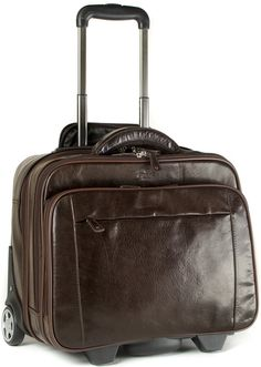 S Babila Genuine Leather Laptop Cabin Size Trolley Briefcase Overnight Flight Travel Bag (Dark Brown): Amazon.co.uk: Luggage £234.99
