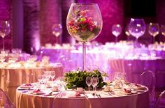 Table decoration at a coporate event