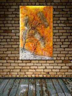 Autumn Flames  Unique Handmade Fused Glass Artwork by IrisGlassArt, £1200.00