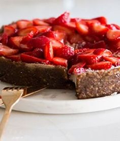 A delicious, raw vegan strawberry coconut cheesecake confection