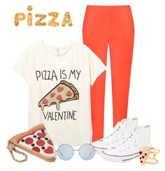 """""""Pizza is my Valentine"""" by pinkmode ❤ liked on Polyvore featuring moda, Andrea Marques, Converse, Betsey Johnson y Glenda López"""