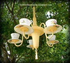 chandelier bird feeders | chandelier & tea cup bird feeder | birds bees flowers trees