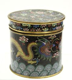 Antique Chinese Cloisonne Enamelled Tea Container from the Clars Auction Gallery in Oakland, CA