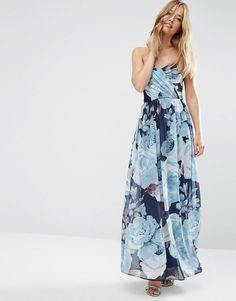 Image 1 of ASOS WEDDING Chiffon Bandeau Blue Floral Printed Maxi Dress