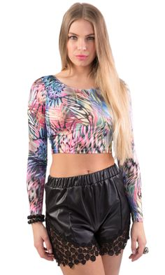 Long Sleeve Crop Top, Abstract Print, Crop Tops, Colour, Clothing, Sleeves, Shirts, Women, Fashion