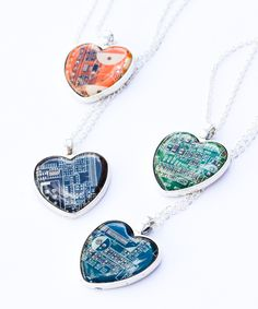 Circuit Board Heart necklace is perfect for a girl, who likes uncommon jewelry. The necklace is made of a piece of real circuit board. It is covered with clean resin, so the surface is as smooth as gl