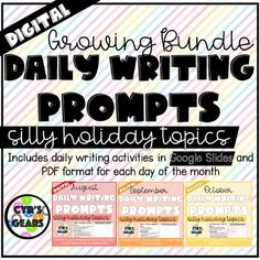 GROWING BUNDLE DISTANCE LEARNING Daily Digital... by Cyr's Gears   Teachers Pay Teachers Teacher Resources, Teacher Pay Teachers, Teaching Ideas, Silly Holidays, Daily Writing Prompts, Fifth Grade, Morning Work, Comic Sans, Daily Activities