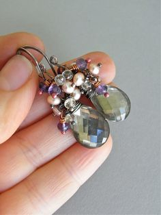 Earrings - sterling silver, oxidised, pearl, doublet stone - topaz, pyrite, amethyst, scapolite - Northern Light.