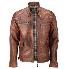 Herren Weiches Echtes Leder antik Washed Tan Rost Braun Vintage mit Reißverschluss Smart Casual Biker Jacket Gr. Large, braun