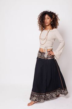 Bohemian Skirt , Boho Skirt , Bohemian Clothing , Black Gypsy Skirt , Long Skirt , One Size | Trendy Look Shop