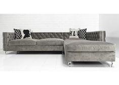 living room sofa -- but in vanilla velvet