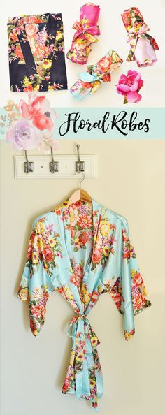 Bridesmaid Gift Idea - Floral Bridesmaid Robes for your Bridal Party make a unique gift & great for getting ready together on your wedding day!  by Mod Party