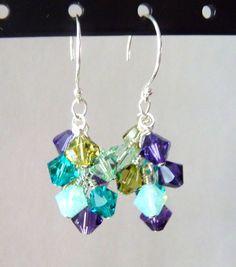 Peacock Crystal Cluster Earrings Swarovski Wire by JBMDesigns, $24.00