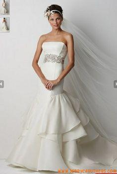strapless Sweetheart Rijk Taille zeemeermin organza bruidsjurk