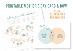 free printable mother's day card and bow for fans at www.facebook.com/icingonthepaper