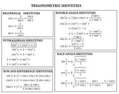 12 Best Trig Identities Images Math Classroom Precalculus Algebra 2