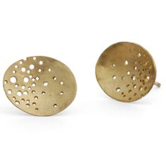 Oval 9ct gold earrings | Contemporary Earrings by contemporary jewellery designer Kate Smith
