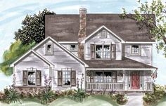 Elevation of Country   House Plan 68873