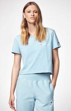d6355274434f Champion Cropped T-Shirt - Blue Lrg T Shirt Crop Top
