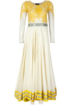 Ivory and yellow applique anarkali set available only at Pernia's Pop-Up Shop.