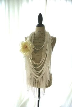 Romantic rag bib necklace, gypsy rose statement necklace, fabric necklace, boho chic jewelry, bohemain necklace, white, fringe, beach. $50.00, via Etsy.