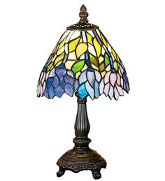 Meyda Tiffany Wisteria Tiffany-Style Indoor Table Lamp With Glas Art Nouveau Interior, Tiffany Lamps, Antique Lamps, Glass Shades, Lighting, Wisteria, Stained Glass, Purple Art, Lamp Table