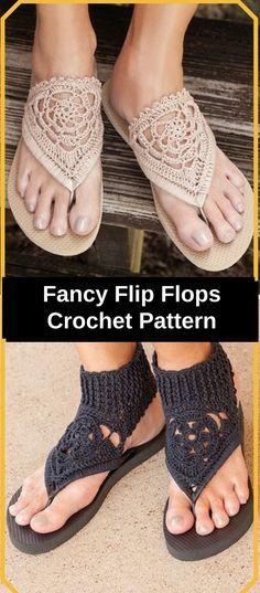 Crochet Flip Flops Love the pattern! So classy and easy! Can't wait to wear them! Fancy Flip Flops Crochet Pattern, DIY Crochet Flip flops, PDF Instant Download #crochet #crocheting #crochetpattern #ad #diy #flipflops #diyflipflops