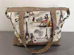 Sac Java en similis croco et Paris cousu par Linda - Patron Sacôtin Java, Messenger Bag, Diaper Bag, Burlap, Satchel, Reusable Tote Bags, Paris, Couture Sac, Sewing